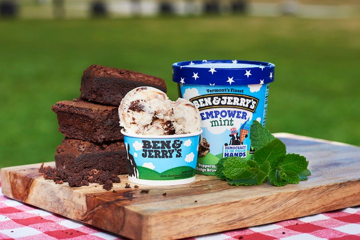 Ben & Jerry's new flavor, Empower Mint, is mint ice cream with brownie chunks and a fudge swirl.