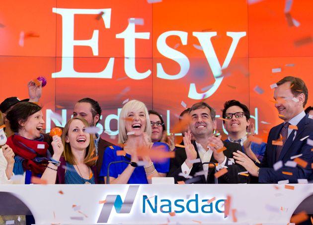Etsy's team celebrating their IPO last