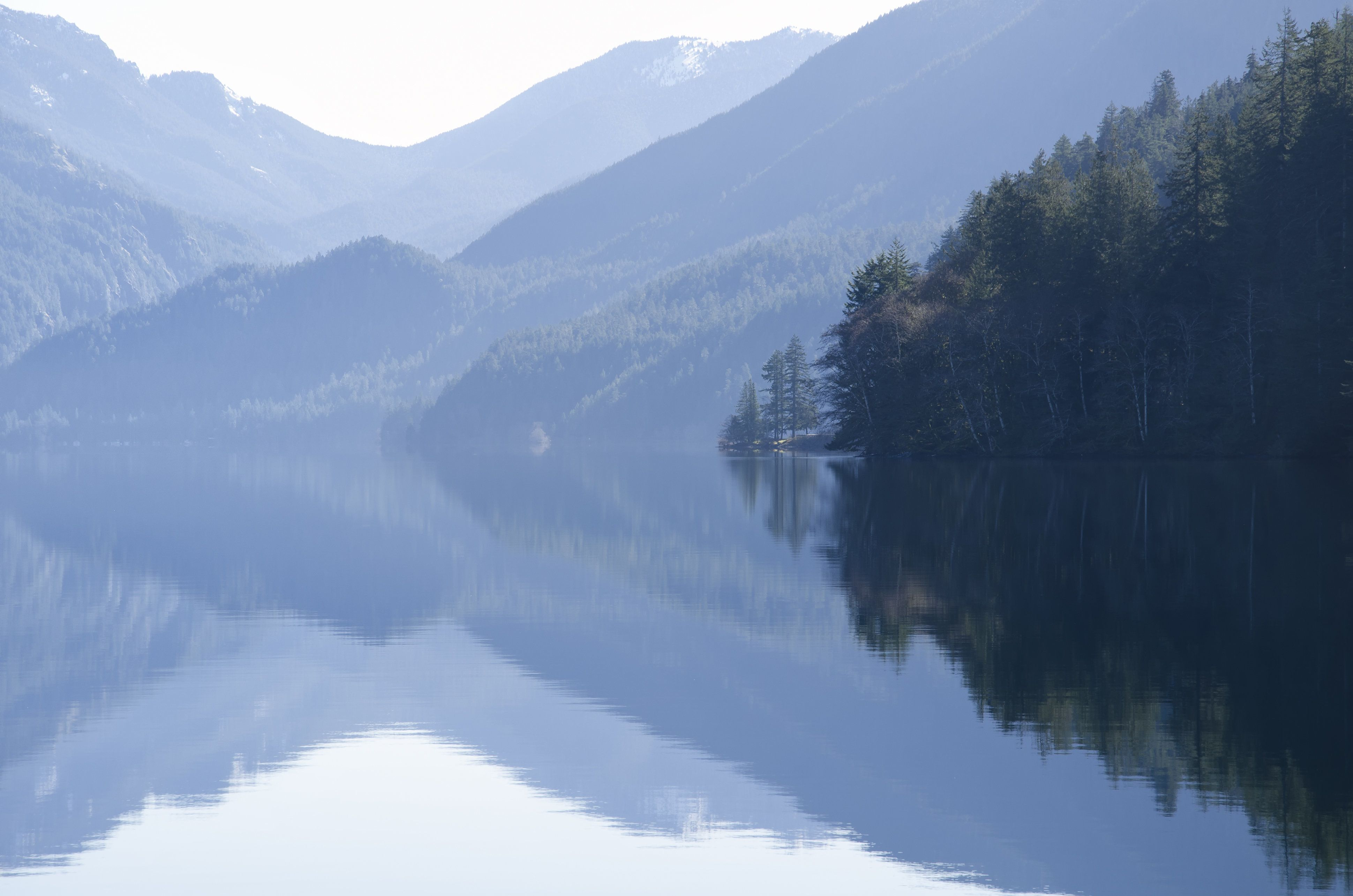 Mountains reflected in calm lake