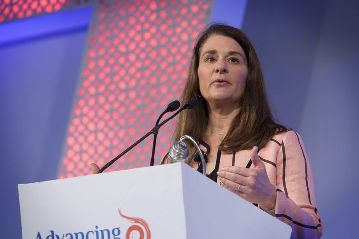 Melinda Gates, co-chair of the Bill and Melinda Gates Foundation, speaks at the Advancing Asia Conference in New Delhi, India