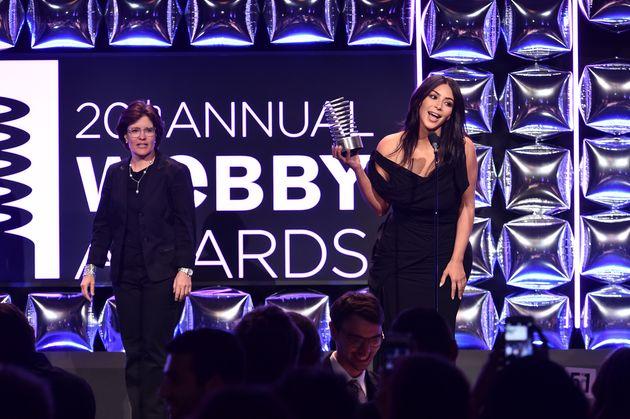 Kim Kardashian accepts her Webby
