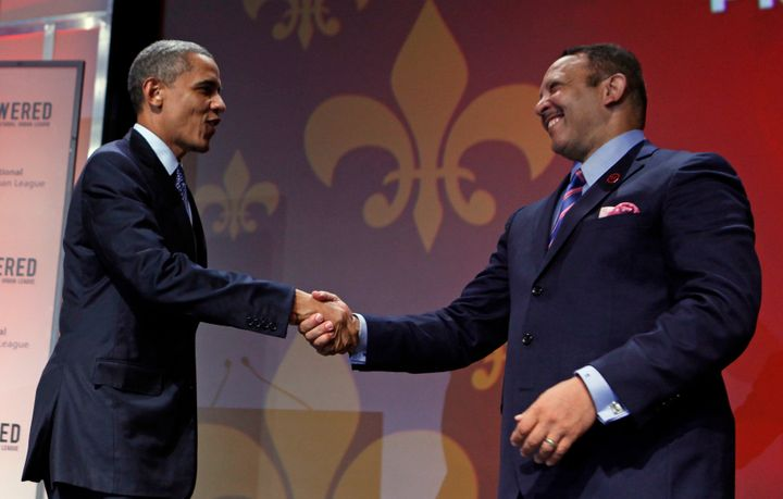 Marc Morial welcomes President Obama at the 2012 National Urban League Conference at the Ernest N. Morial Convention Cen