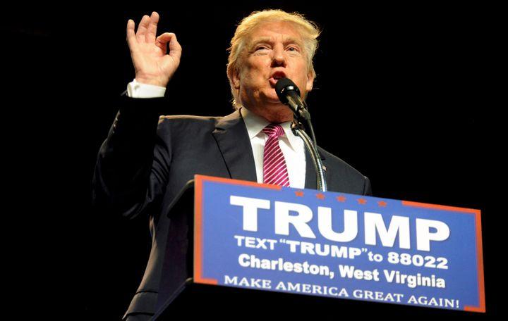 Republican U.S. presidential hopefulDonald Trump speaks to supporters in Charleston, West Virginia,onMay 5, 2016.