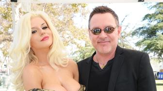 LOS ANGELES, CA - SEPTEMBER 21:  (L) TV personality Courtney Stodden and  and her husband actor Doug Hutchison attend The LA Feline Film Festival at Exposition Park on September 21, 2014 in Los Angeles, California.  (Photo by Beck Starr/WireImage)