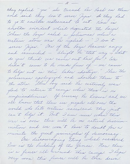 Page 2 of Louise Ogawa's 1942 letter to her librarian, Clara Breed.