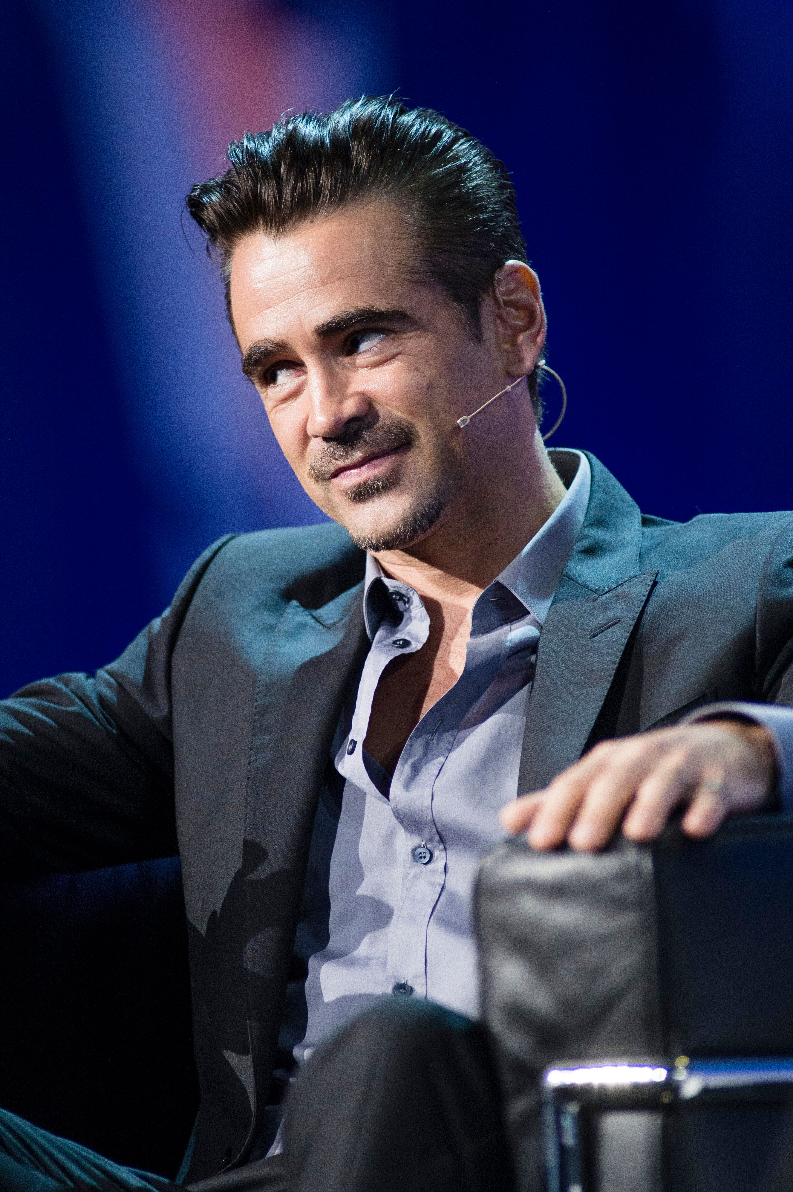 LONDON, ENGLAND - MAY 12:  Colin Farrell speaks at Adobe EMEA Summit at ExCel on May 12, 2016 in London, England.  (Photo by Jeff Spicer/Getty Images)