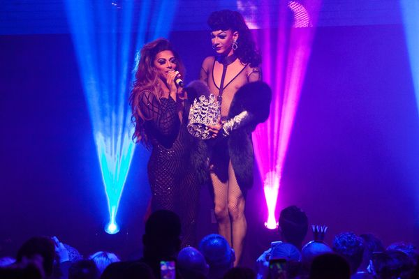 NEW YORK, NY - MAY 16:  Violet Chachki and Shangela Laquifa Wadley onstage during RuPaul's Drag Race Season 8 Finale Party at