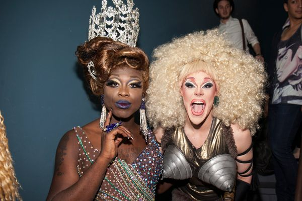 NEW YORK, NY - MAY 16:  Bob The Drag Queen and Thorgy Thor attend RuPaul's Drag Race Season 8 Finale Party at Stage 48 on May