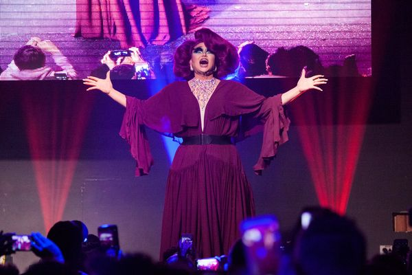 NEW YORK, NY - MAY 16:  Kim Chi performs onstage during the RuPaul's Drag Race Season 8 Finale Party at Stage 48 on May 16, 2