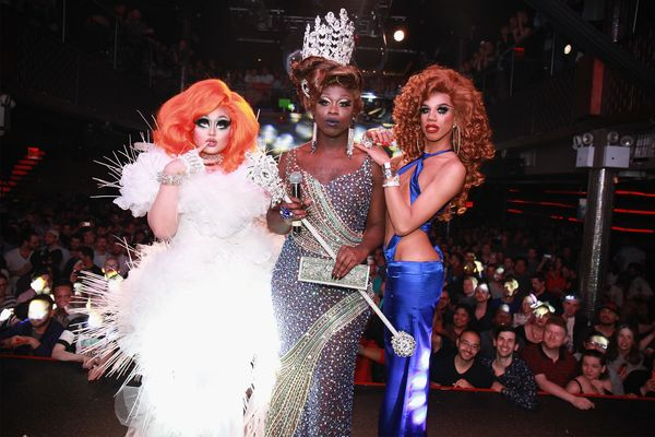 NEW YORK, NY - MAY 16:  (L-R) Finalists Kim Chi, Bob the Drag Queen, and Naomi Smalls pose onstage during the RuPaul's Drag R