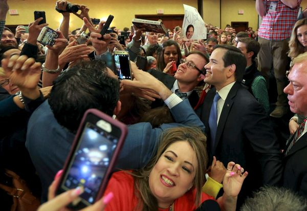 Sen. Marco Rubio (R-Fla.) takes selfies with supporters after speaking at a campaign rally in Houston on Feb. 24, 2016.