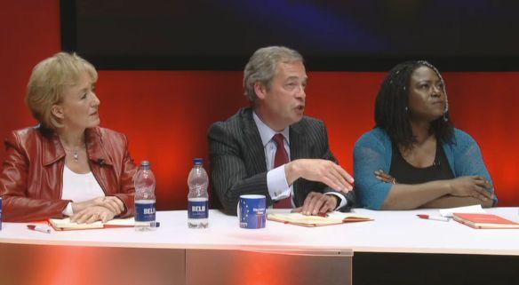 Nigel Farage (centre) and Dreda Say Mitchell