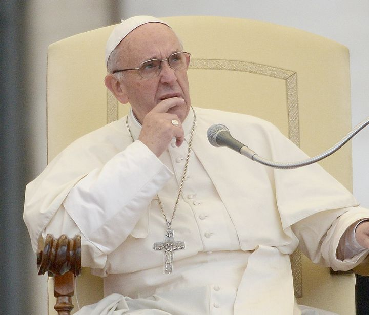 Pope Francis participates in a general audience at the Vatican on May 14.