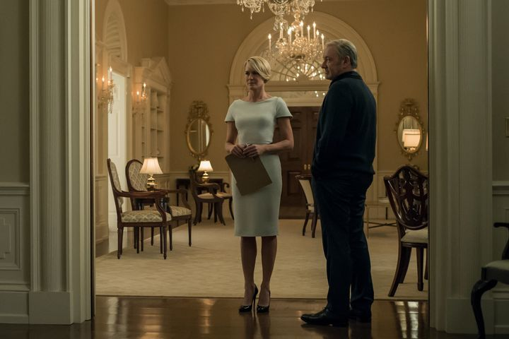 Wright as Claire Underwood in her perfect heels.