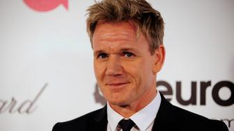 Chef and television personality Gordon Ramsay arrives at the 2014 Elton John AIDS Foundation Oscar Party in West Hollywood, California March 2, 2014. REUTERS/Gus Ruelas (UNITED STATES TAGS: ENTERTAINMENT) (OSCARS-PARTIES)