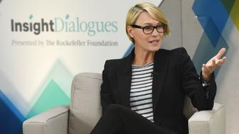 Actress Robin Wright and Judith Rodin, Rockefeller Foundation CEO during the Rockefeller Foundation Insight Dialogue Session hosted by the Huffington Post, held in New York City, Tuesday, May 17, 2016.