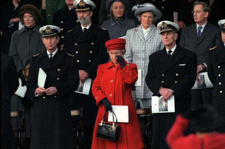 Queen Elizabeth II at the Royal Yacht Britannia's de-commisioning ceremony.