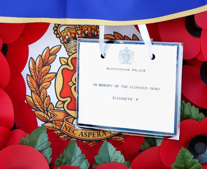 The wreath Queen Elizabeth II laid on the new memorial.