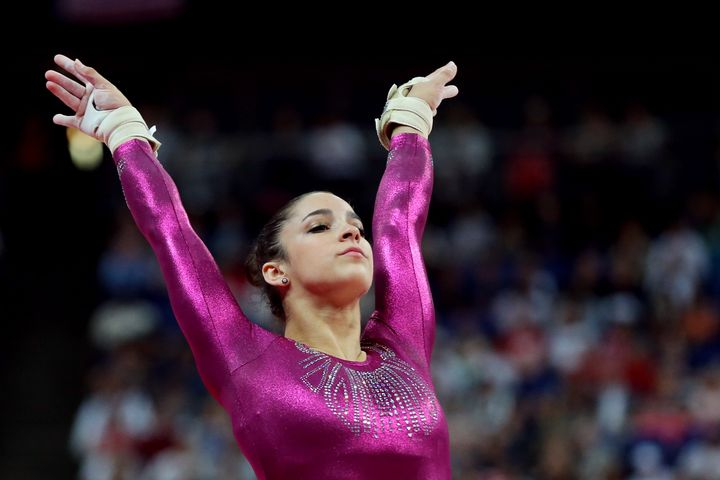 Aly Raisman after competing on the vault in the Artistic Gymnastics Women's Individual All-Around final on Day 6 of the