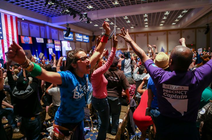 Sanders supporters react during the state Democratic convention in Las Vegas on May 14, 2016.
