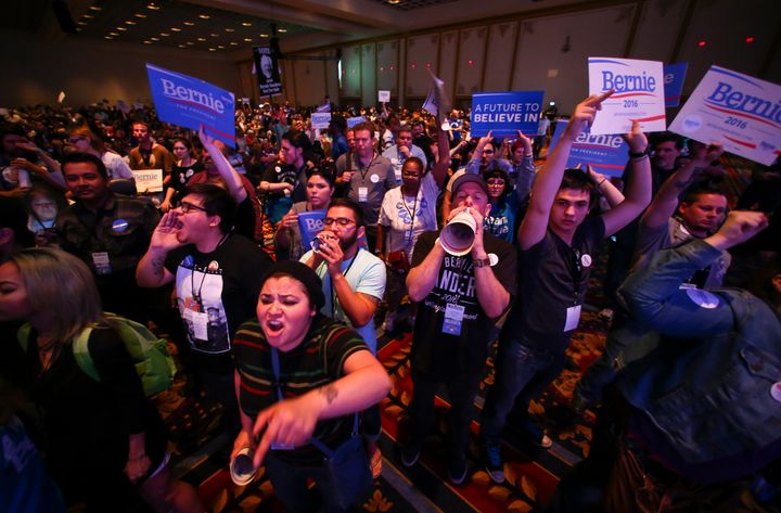 Supporters of Democratic presidential candidate Bernie Sanders react as U.S. Sen. Barbara Boxer (D-Calif.) speaks during the