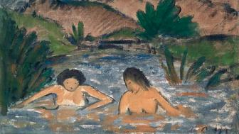 GERMANY - CIRCA 2002:  Bathers, by Otto Muller (1874-1930). (Photo by DeAgostini/Getty Images); Monaco, Neue Pinakothek (Picture Gallery). (Photo by DeAgostini/Getty Images)