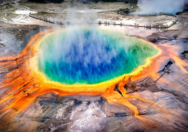 Grand Prismatic Spring at Yellowstone National Park, where three Canadians are facing criminal charges for leaving the boardw