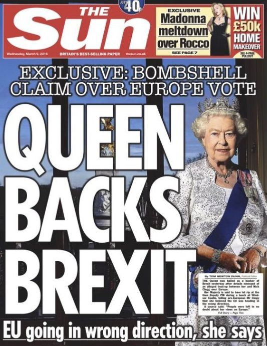 IPSO has ruled that The Sun's 'Queen backs Brexit' front page headline was