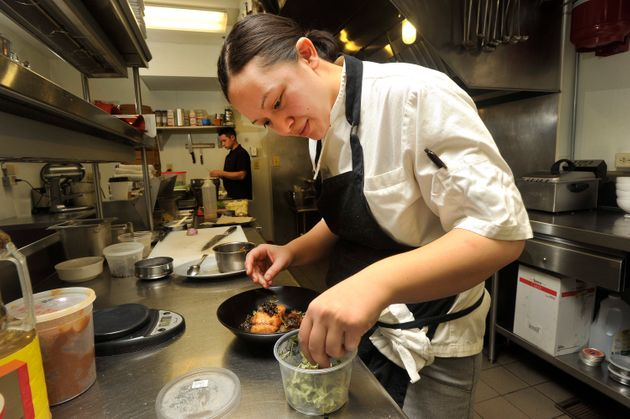 Chef Cara Stadler cooks a dish with sustainable fish. A 2014 survey found that almost two-thirds...