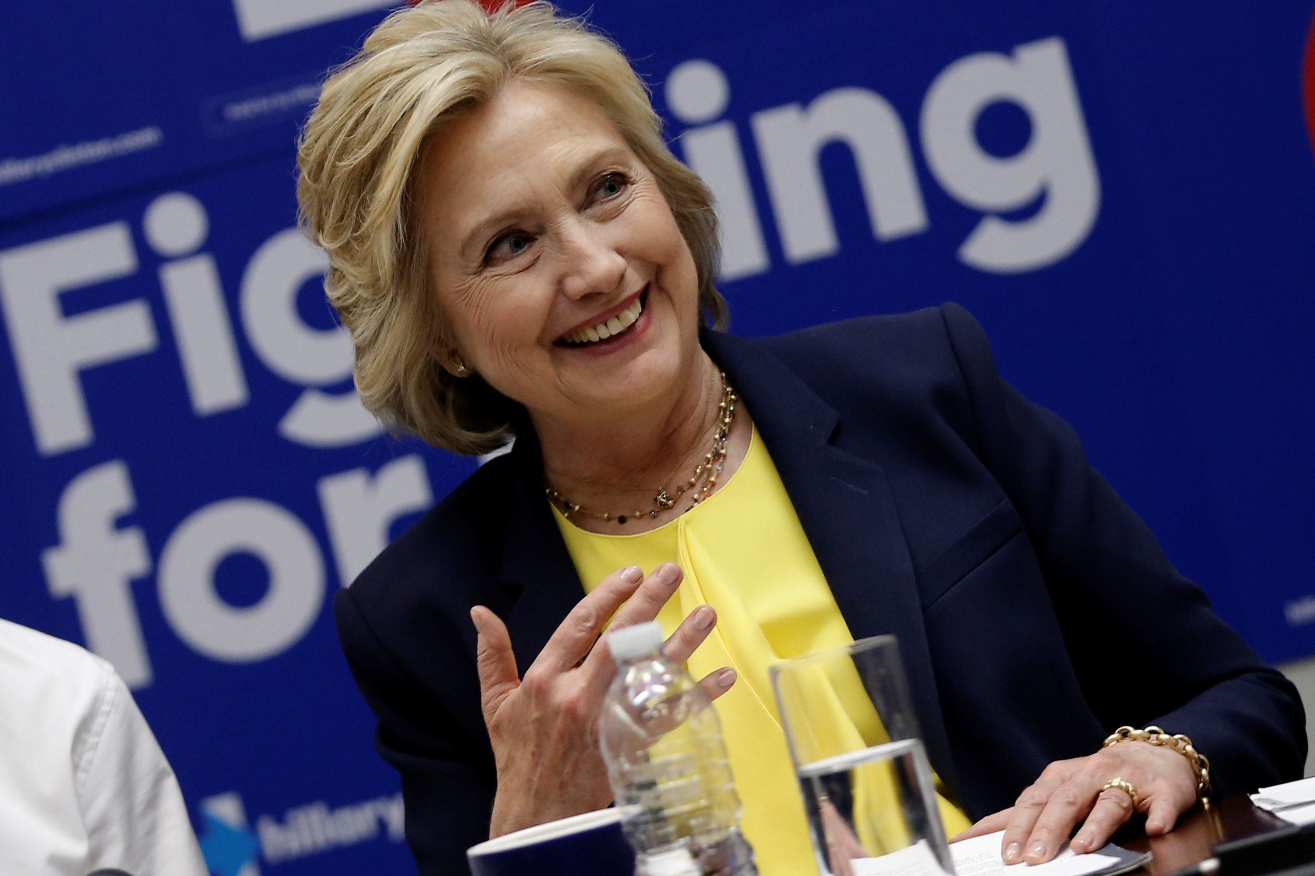 U.S. Democratic presidential candidate Hillary Clinton makes remarks during a meeting with a coalition of HIV/AIDS activists at her campaign headquarters in the Brooklyn borough of New York City, U.S., May 12, 2016.  REUTERS/Mike Segar