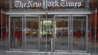 The west entrance of the New York Times building at 620 Eighth Ave. April 28, 2016 in New York. / AFP / DON EMMERT        (Photo credit should read DON EMMERT/AFP/Getty Images)