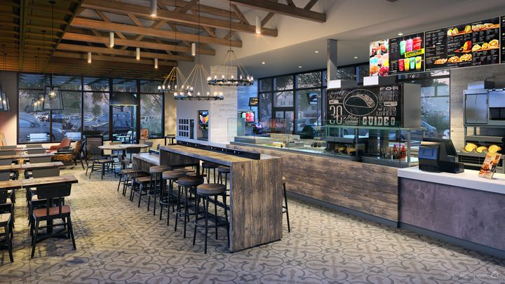"""An order counter inTaco Bell's """"Heritage"""" store design concept."""