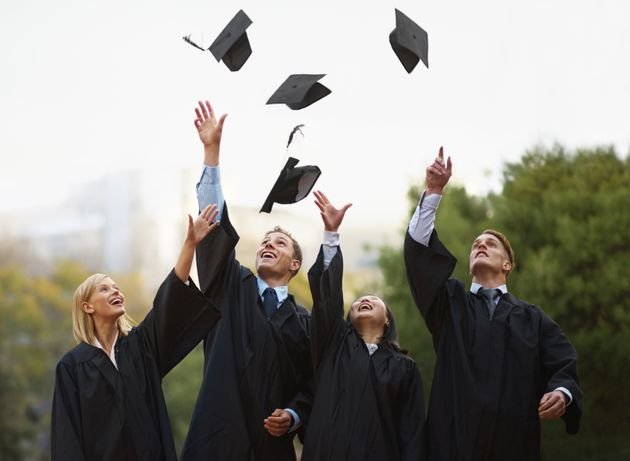 This typical graduation scene has not been digitally