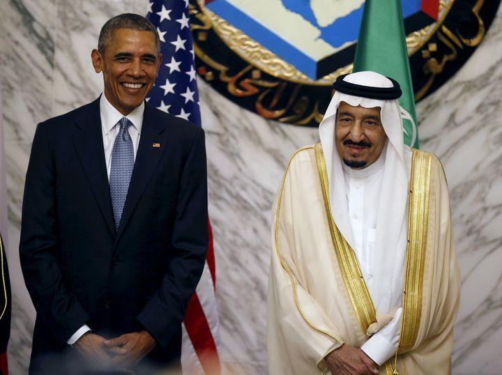 President Barack Obama stands next to Saudi Arabia's King Salman in Riyadh, Saudi Arabia, April 21, 2016.