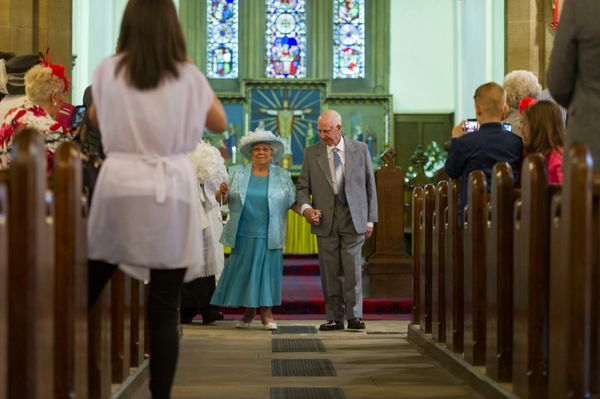 Wedding Day of Sally, 82 and Colin, 85, Dunn, at St Mary's Church Middleton, Leeds, who finally got married after a 44 year l