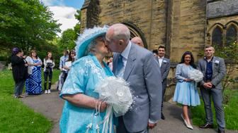 "Wedding Day of Sally, 82 and Colin, 85, Dunn, at St Mary's Church Middleton, Leeds, who finally got married after a 44 year long engagement. See Ross Parry copy RPYWED : A devoted couple have finally put life's busy events aside and walked down the aisle - 44 YEARS after they met.  Sally, 82, and Colin Dunn, 84, met in 1972 when they were in their late 30s when Sally worked behind the bar of the social club that Colin visited every weekend after work.  And it was in that very social club, more than four decades later, that the couple celebrated their wedding with over 100 of their closest family and friends. Remembering the times he used to visit Sally at Middleton Social Club in leeds, West Yorks., Colin said: ""Sally used to serve me every weekend when I'd go in every weekend. ""We got chatting and she got used to me going. Eventually, I asked her out."""