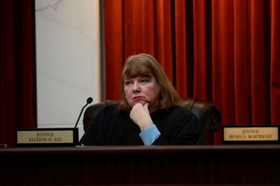 The Colorado Supreme Court Justice Allison H. Eid hears arguments in the new court room for the first time at the Ralph L. Ca