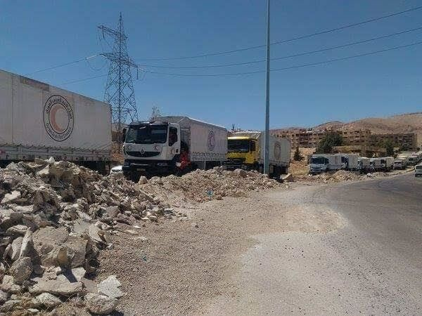 An joint UN-Syrian Red Crescent-ICRC aid convoy delivered aid to Harasta, a rebel-held Damascus suburb...