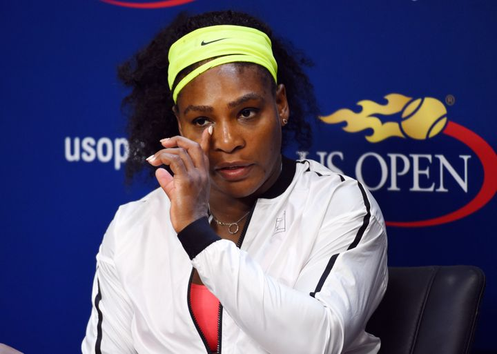 Williams wasemotional atthe press conference following her shockingloss to Roberta Vinci at the 2015 U.S. O