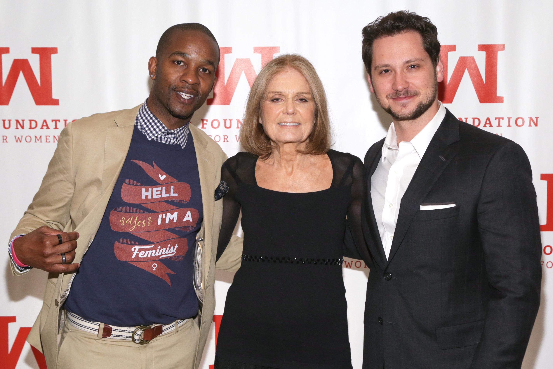 Davis with Gloria Steinem and actor Matt McGorry at the 2016 Gloria Awards.