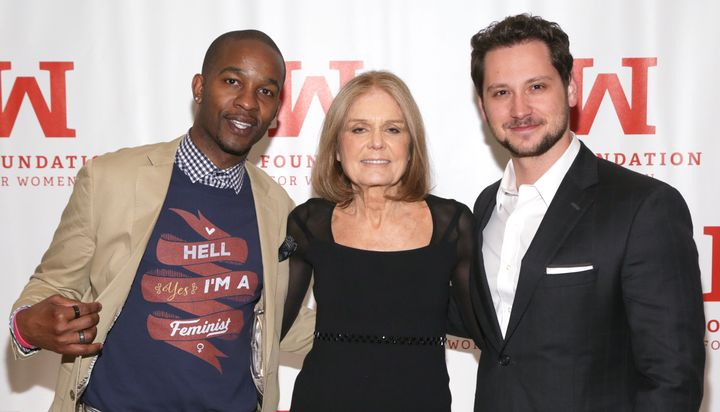 Davis with Gloria Steinem and actor Matt McGorry at the 2016 Gloria Awards.