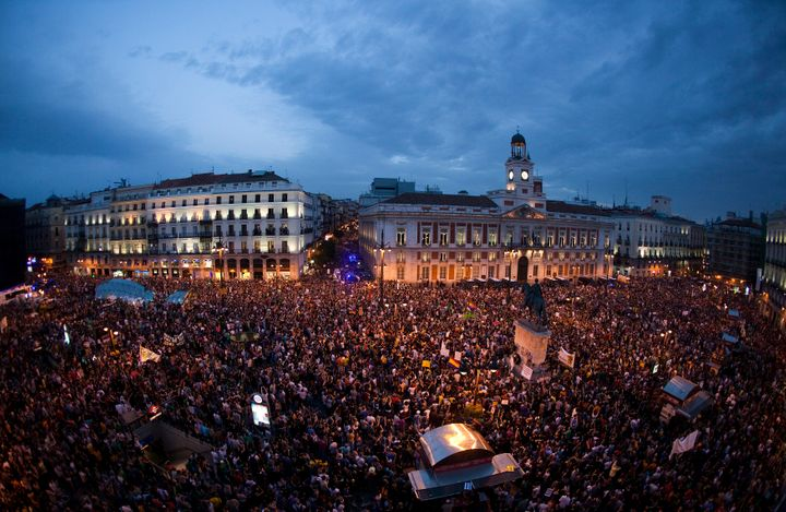 Protesters fill up the Puerta del Sol square during a protest marking the anniversary of Spain's 15-Mmovement in Madrid