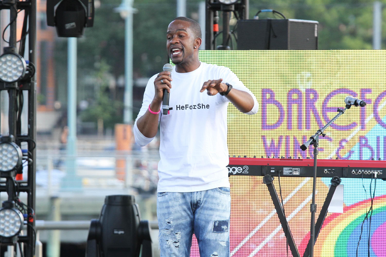 Davis speaks at an NYC Pride Rally in June 2015.