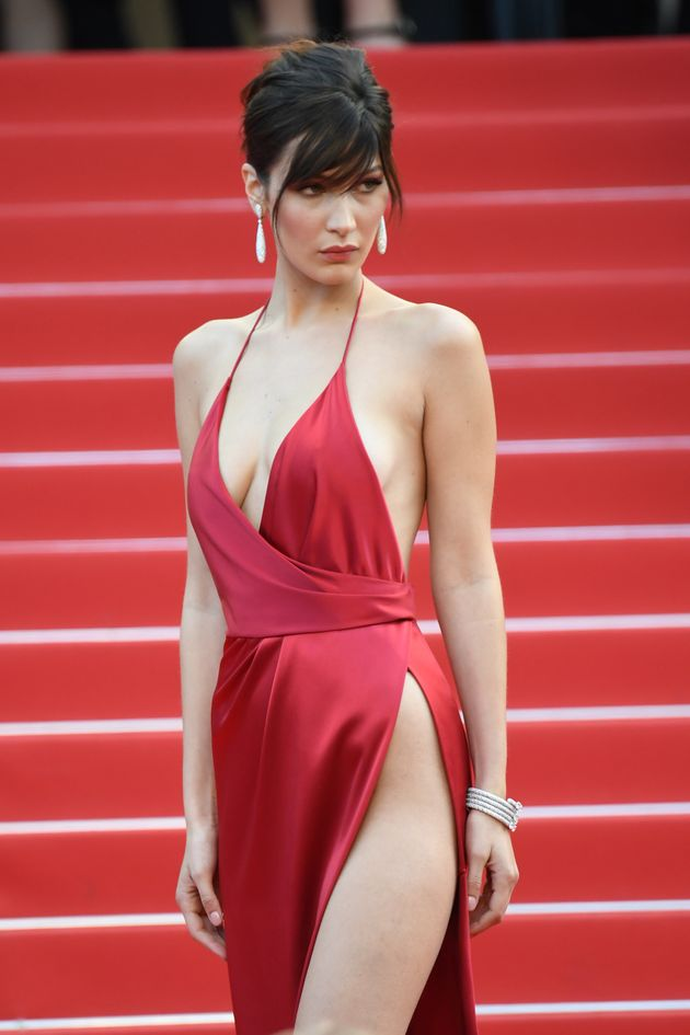 Bella Hadid Wears A Giant Slit With A Tiny Bit Of Dress
