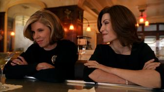NEW YORK - APRIL 10: 'A Material World'--Alicia and Diane consider merging their firms in the wake of Will's death, even as they find themselves on opposite sides of a contentious divorce suit. Meanwhile, Alicia offers assistance to Finn when it becomes clear that the State's Attorney is looking for a scapegoat in the Jeffrey Grant case, on THE GOOD WIFE, Sunday, April 13 (9:00-10:00 PM, ET/PT) on the CBS Television Network. Pictured L-R: Christine Baranski as Diane Lockhart and Julianna Margulies as Alicia Florrick. Photo is a screen grab. (Photo by CBS via Getty Images)