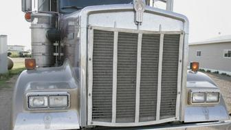 ** APN ADVANCE FOR SUNDAY, NOV. 26** Justina Giesbrecht, a Mennonite, stands next to a truck she drives for her husband's trucking company near Sublette, Kan., Tuesday, May 2, 2006. (AP Photo/Orlin Wagner)