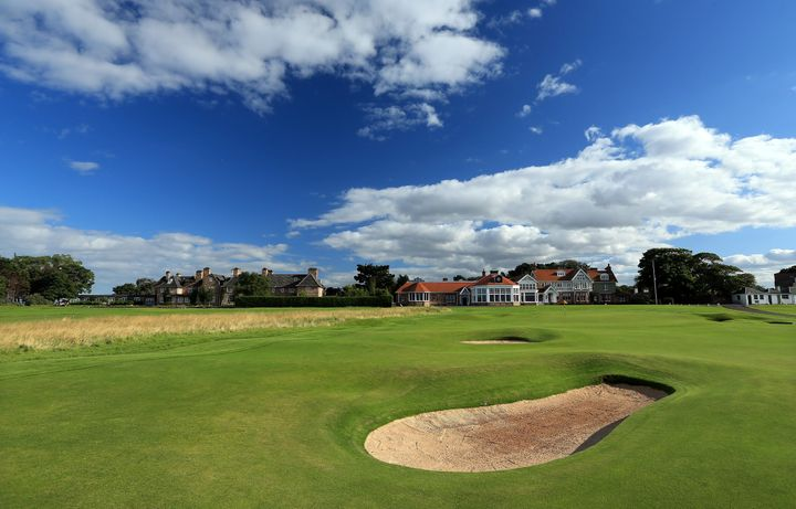 The green on the 18th hole with the clubhouse behind at The Honourable Company of Edinburgh Golfers at Muirfield on August 31