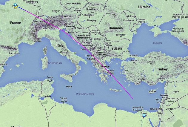The track displayed on Flightradar24 showing the EgyptAir aircraft travelling from