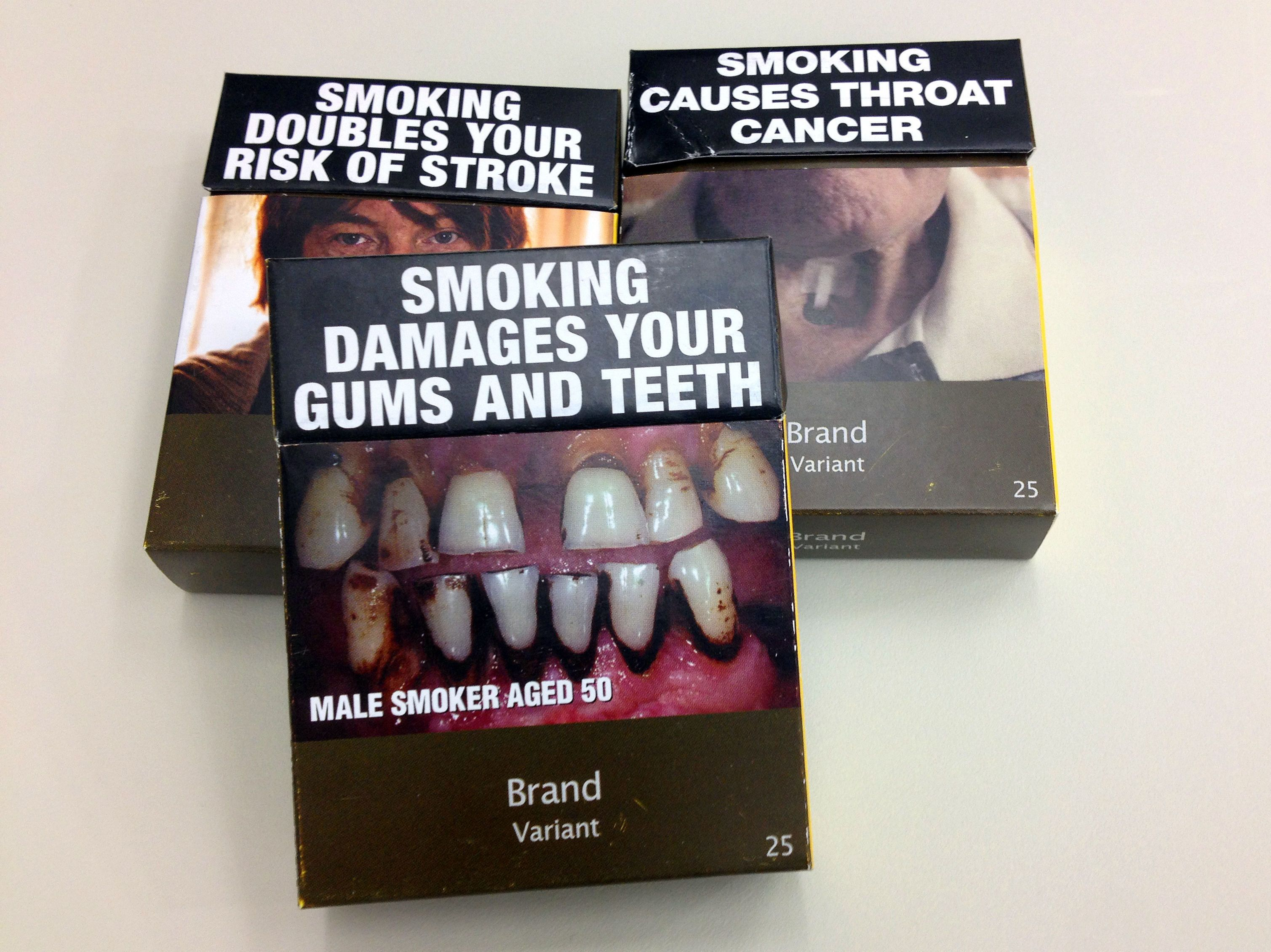 Standardised cigarette packs used in Australia where the directive has been in place since