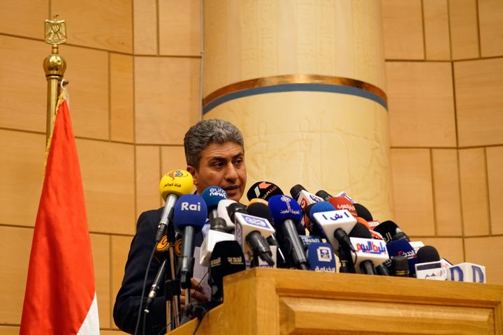Minister of Civil Aviation Sherif Fathi speaks to the press about EgyptAir Flight MS804 on Thursday in Cairo.